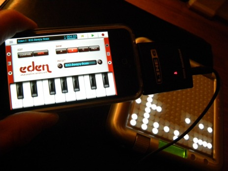 Tenori-On driving multiple layers on iPhone NanoStudio via Line6 MIDI Mobilizer