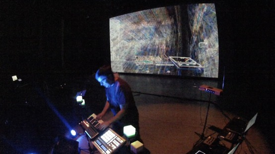 Photo from Tech Rehearsal/Sound Check from Dairy Center for Performing Arts Electronic Music Concert