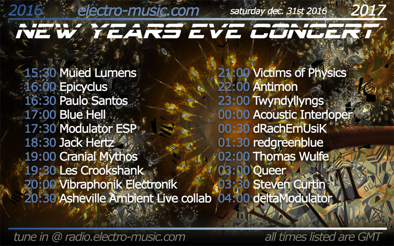 Tune In Now: 13 Hour Electro-Music.com New Years Eve Concert
