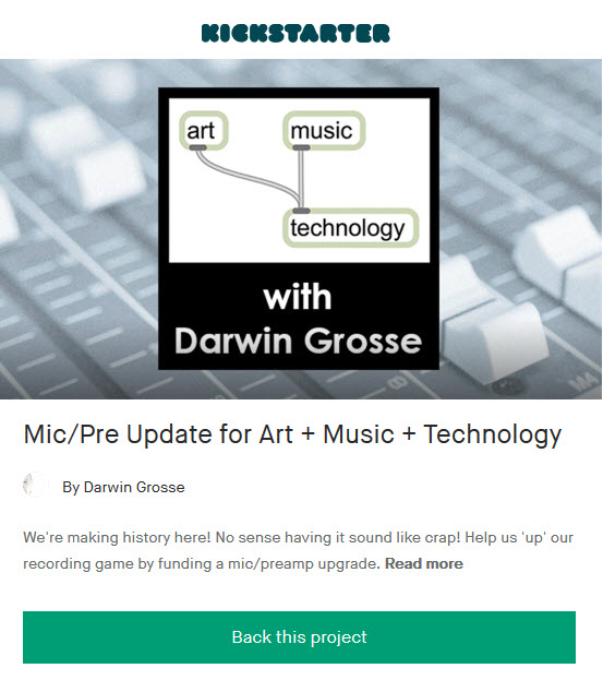 Kickstarter to Help Support Art + Music + Technology Podcast Electronic Music Oral History Archive